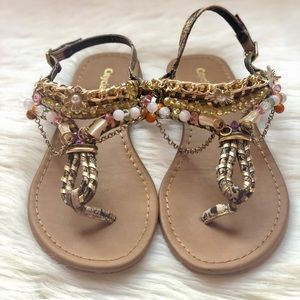 City Classified Boho Detail Beaded Thong Sandal